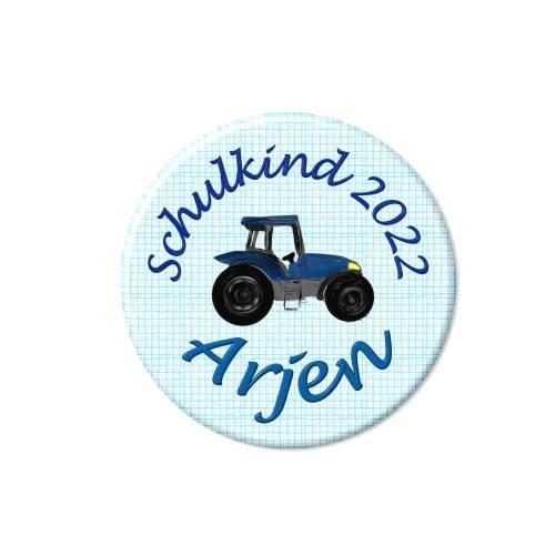 Button Schulkind, Traktor blau, Füllung für Schultüte, mit Wunschtext, Wunschnamen
