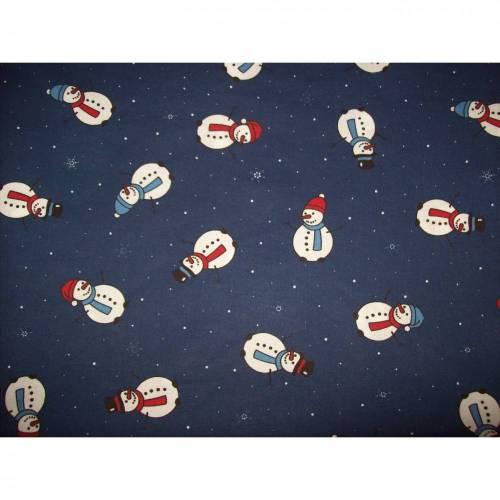 Mundschutz Erwachsene Weihnachten Schneemann Winter blau mit weichem, schmalen Gummiband  ohne Nasenbügel