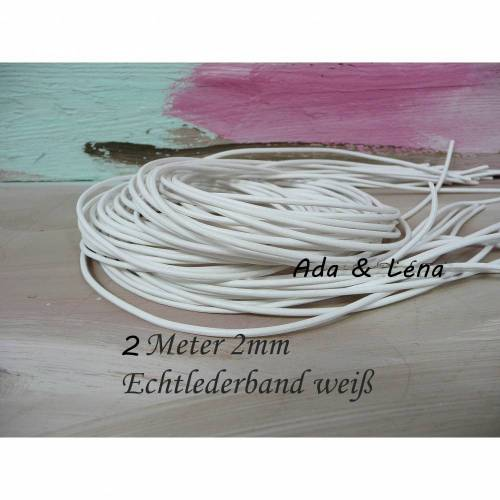 Lederband 2 Meter weiß 2mm Lederkordel rund echtes Rindsleder