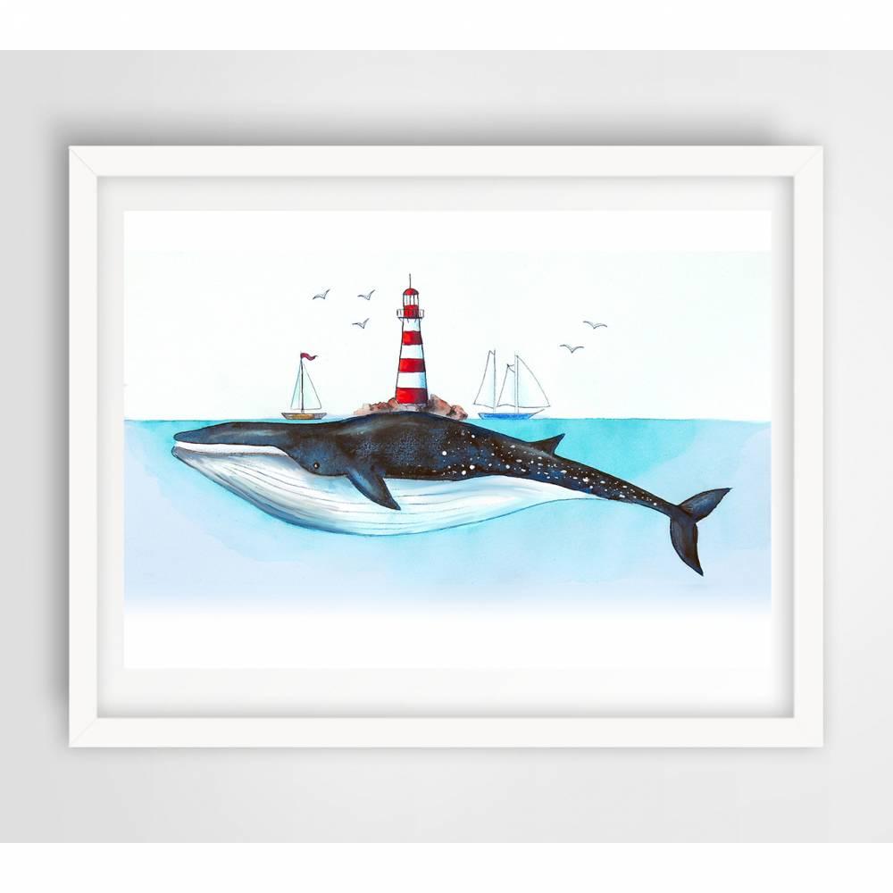 Leuchtturm-Wal ★ Digitaldruck A4 ★ 300 g/m2 Bild 1