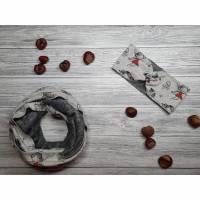 Set Schal & Stirnband Kinder Feen grau / rot - Göße 52-53cm Kopfumfang Bild 1