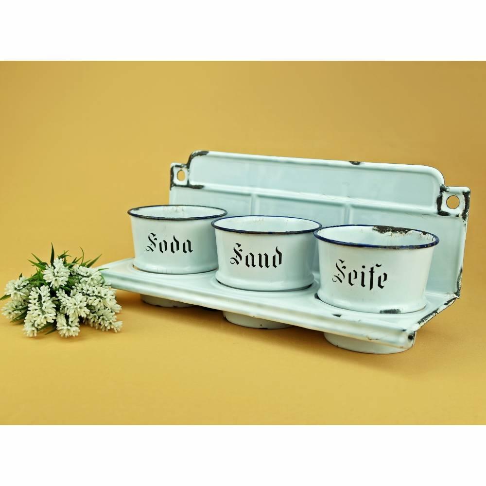 Vintage - Wandregal Sand Soda Seife Emaille Behälter Wandboard weiß Shabby Bild 1