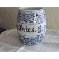 Vorratsdose Porzellan gemustert blau vintage 30er 40er Bild 1
