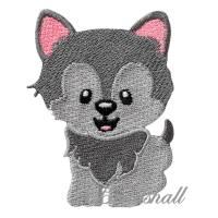 Bügelbild Wolf kindlich Applikation Wolfskind kleiner Wolf Patch Bild 1