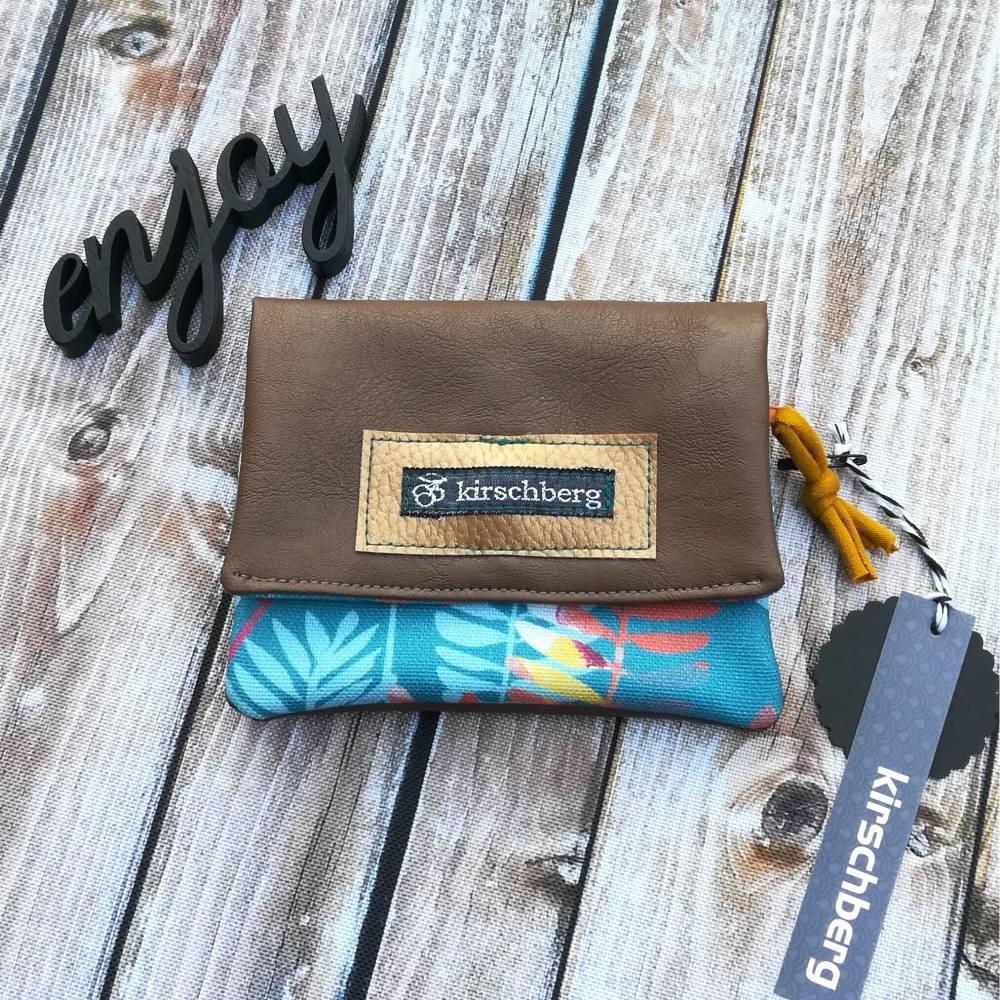 Kleine Umhängetasche mit passendem Mini-Portemonnaie Herbstlaub Bild 1