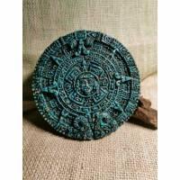 Azteken Kalender, Malachit, Wandschmuck Bild 1