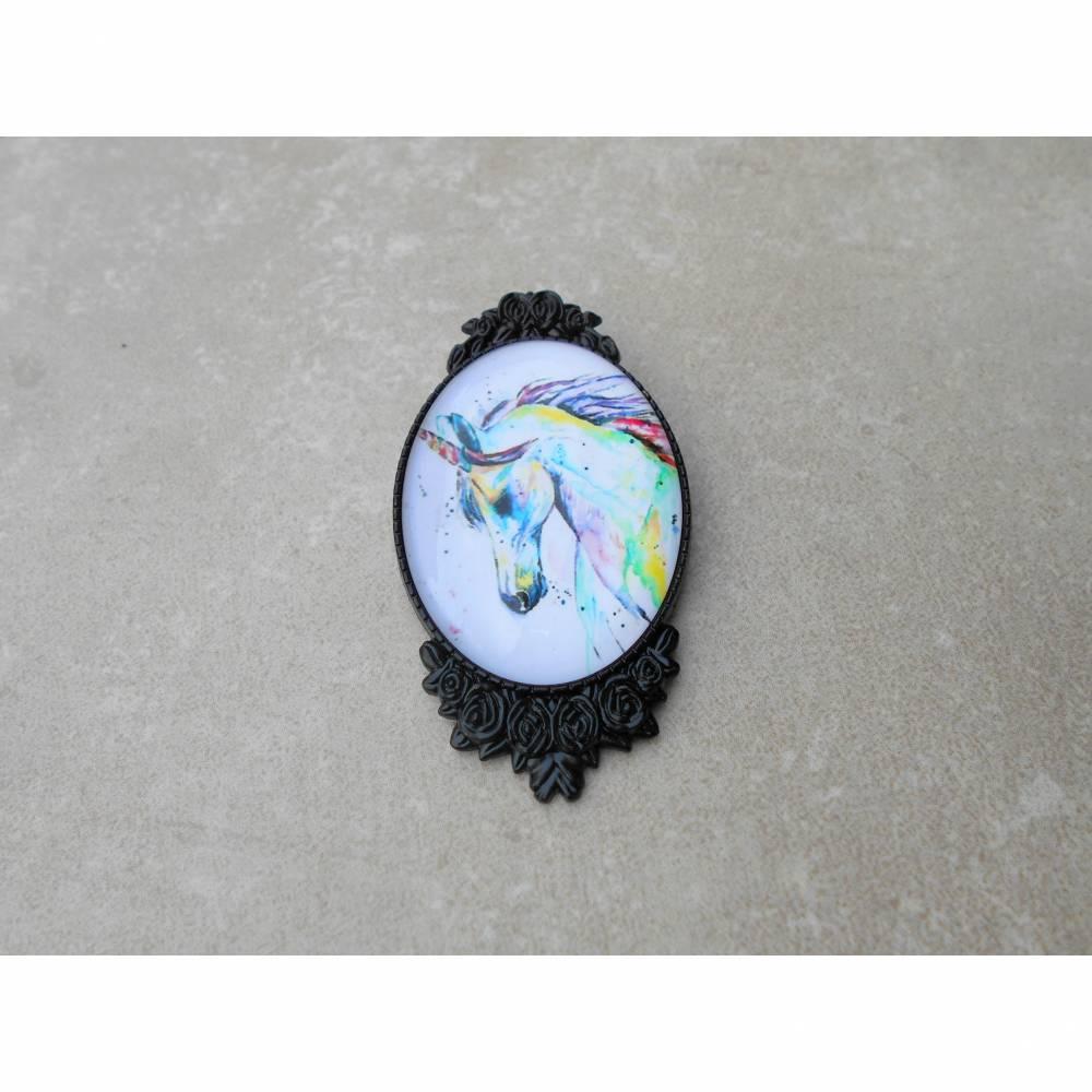kamee schwarz Pferde Brosche Anstecker  mit Glascabochon  Bild 1