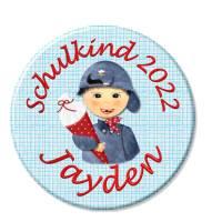 Button Schulkind,Einschulung, Junge dunkles Haar, personalisiert, Füllung für Schultüte Bild 1