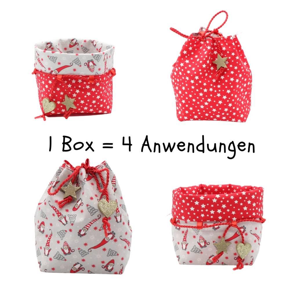 Weihnachtsbox, zum wenden und zum binden in Rot mit Sternen Bild 1