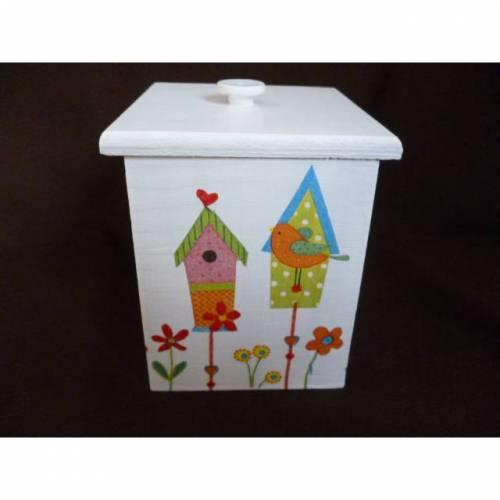 """kleine Holzbox mit Deckel """"Vogelhäuser"""""""