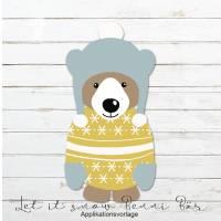 LET IT SNOW BÄR BENNI  Applikationsvorlage Bild 1