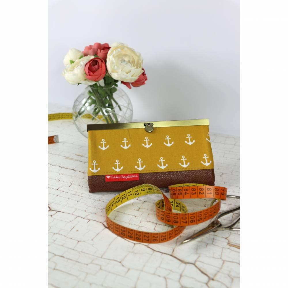 Portemonnaie gelb mit großen Ankern und Lederimitat Bild 1
