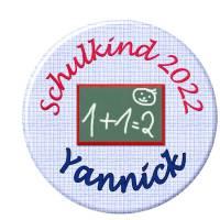 Button Schulkind,Einschulung, Schultafel blau, personalisiert, Füllung für Schultüte Bild 1