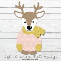 LET IT SNOW REH RUBY Applikationsvorlage Bild 1