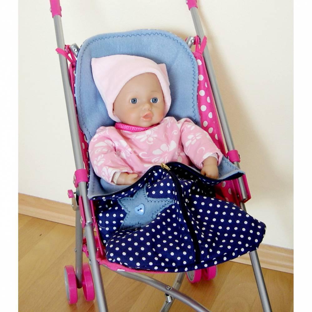 Fuß-Sack für Früchchen, Fuß-Sack blau mit Tupfen, kleiner-Schlafsack, Winter-Fußsack Puppen-Sportwagen, Puppenfußsack,  Bild 1