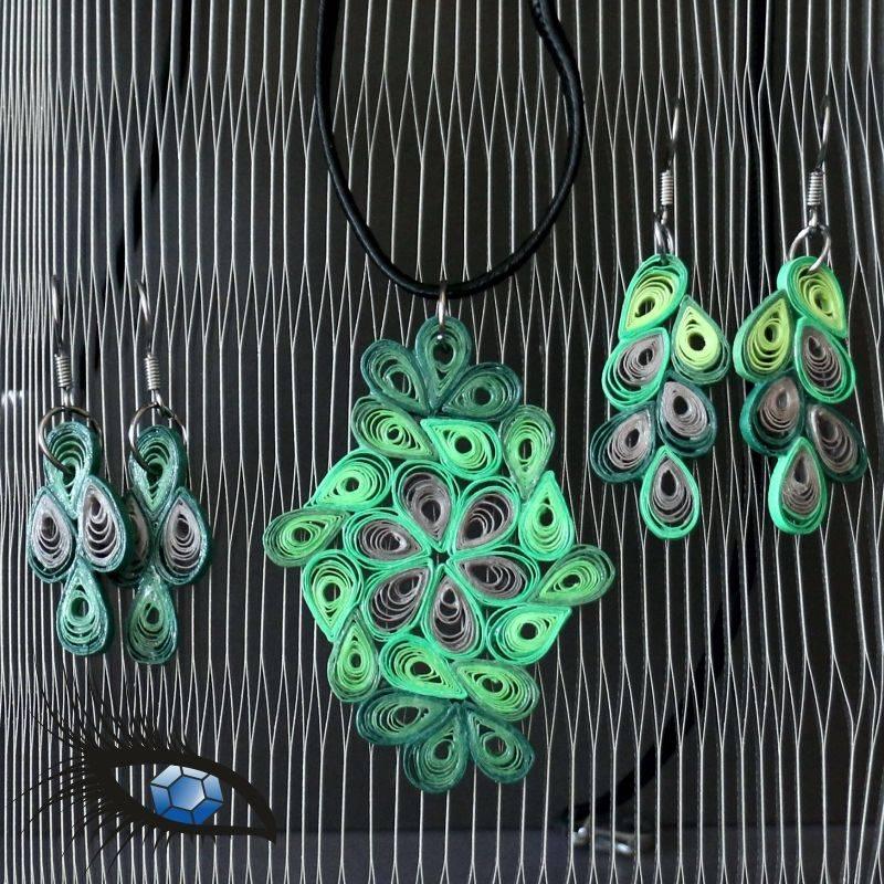 [2020-q-0046] Halskette / Collier mit Quillinganhänger und 2 Paar passenden Ohrringen Bild 1