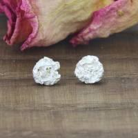 Kleine Ohrstecker aus Silber 925/-, Zerknitterte Scheiben, 6,5 mm Bild 1