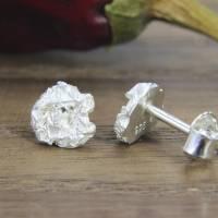 Kleine Ohrstecker aus Silber 925/-, Zerknitterte Scheiben, 6,5 mm Bild 5
