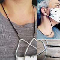 Maskenband Maskenkette Maskenhalter Lederband Kette für Behelfsmasken Schnutenpulli Bild 1