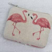 Großes Schlüsseletui mit Flamingos aus Canvas im Leinenlook Bild 1