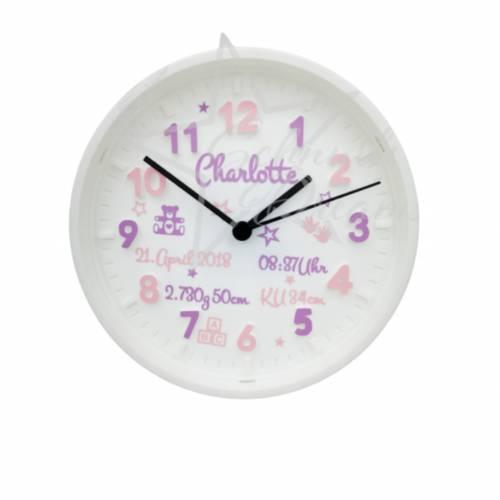 ☆ Personalisierte Wanduhr mit Namen & Geburtsdaten ☆ ideal als Geschenk zur Taufe / Geburt ☆  rosa/lavendel