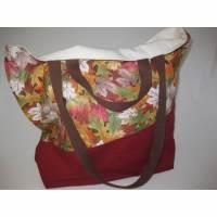 Stofftasche Herbst aus Baumwolle mit vier Henkeln für Einkauf und Freizeit Bild 1