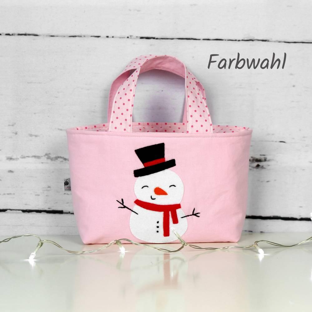 Kindertasche ~ Schneemann   Wendetasche   Personalisiert   Weihnachten   Geschenke für Kinder   Mädchen   Junge Bild 1