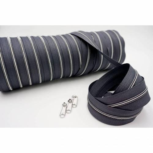 1m endlos Reißverschluss inkl. 3 Zippern - schmal metallisiert dunkelgrau - silber