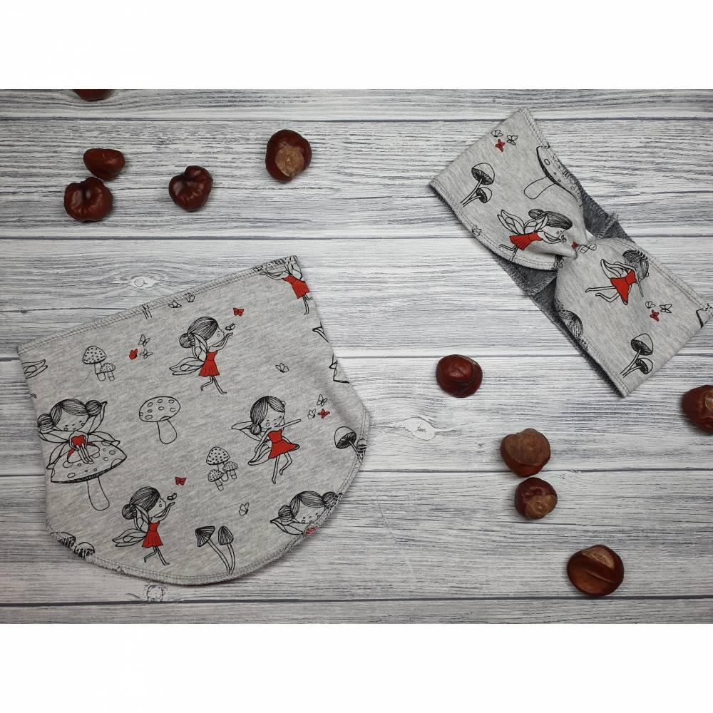 Set Halssocke & Stirnband Kinder Feen grau / rot - Göße 50-51cm Kopfumfang Bild 1
