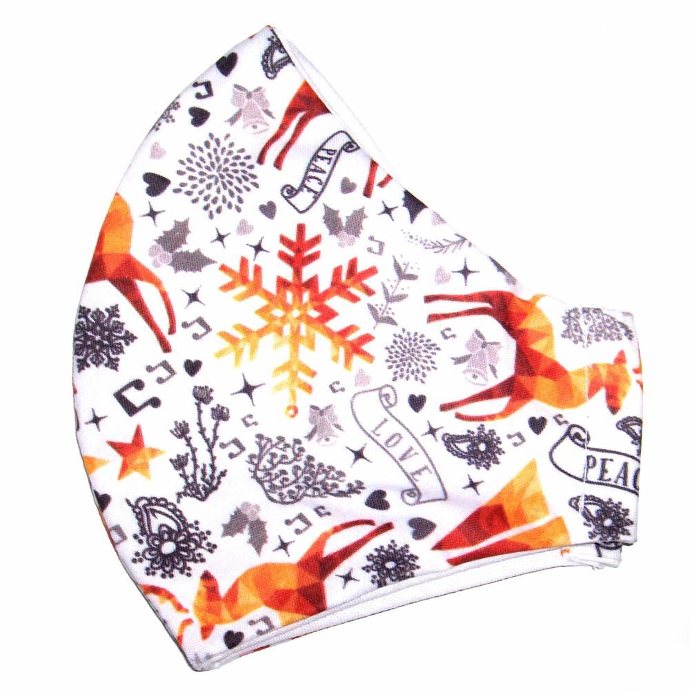 """MuNaske - Behelfs-Mund-Nase-Maske """"Weihnachten 02"""", Größe M, genäht aus Baumwollstoff, OHNE Nasenbügel - Waschba Bild 1"""