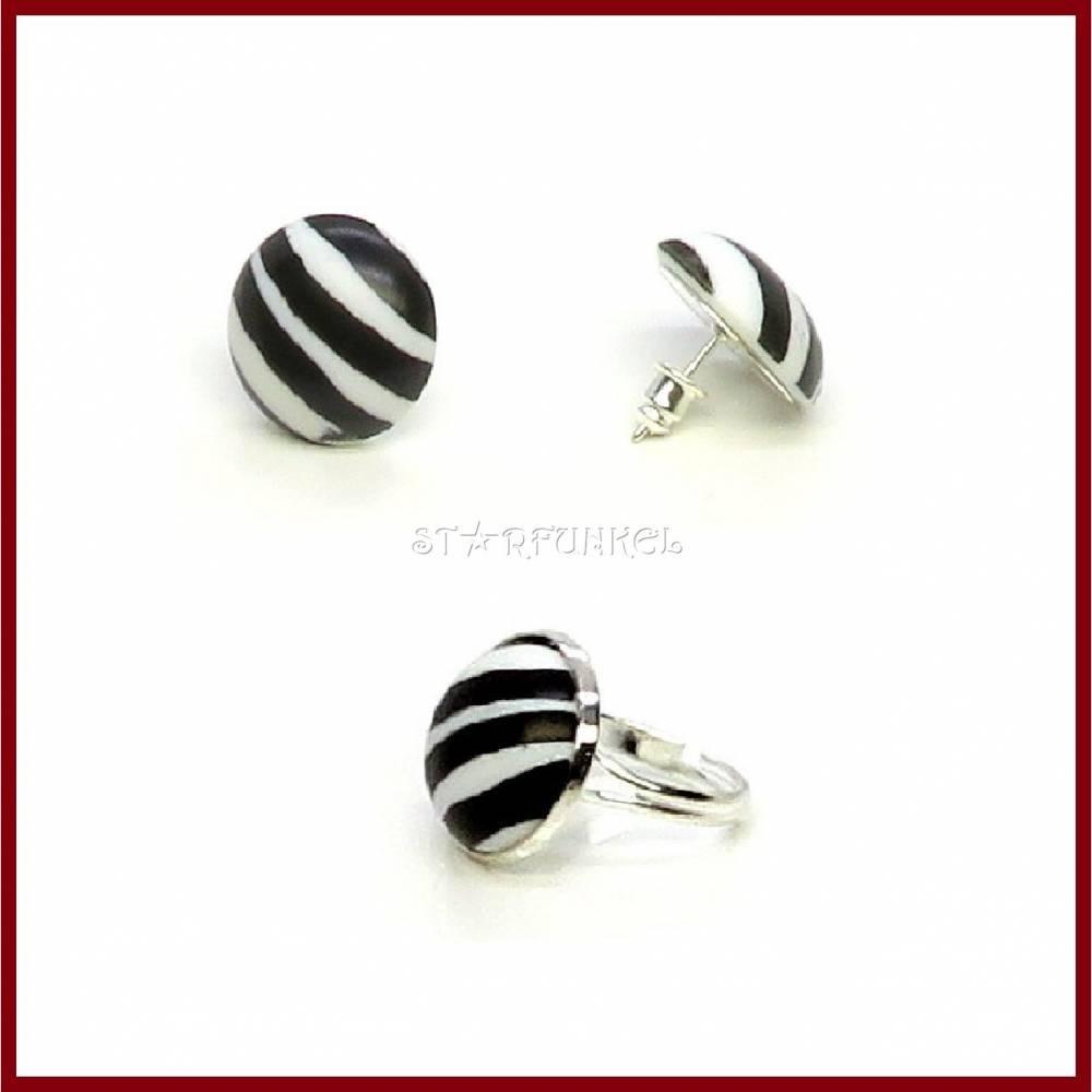 """Schmuckset """"Zebra"""" Cabochon Ohrstecker/ Ohrclips und Ring, Acryl 18mm schwarz/weiß, versilbert, Geschenk  Bild 1"""