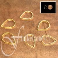 Metallelemente | Tropfen | Drops | 6 Stück | 9 x 13 mm | Gold | Trägerelemente | Miyuki Peyote Technik | 97290 Bild 1