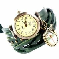Armbanduhr, Lederuhr, Damenuhr, echt Leder, Vintag-Stil,Uhr,Wickeluhr ,Libelle Bild 1