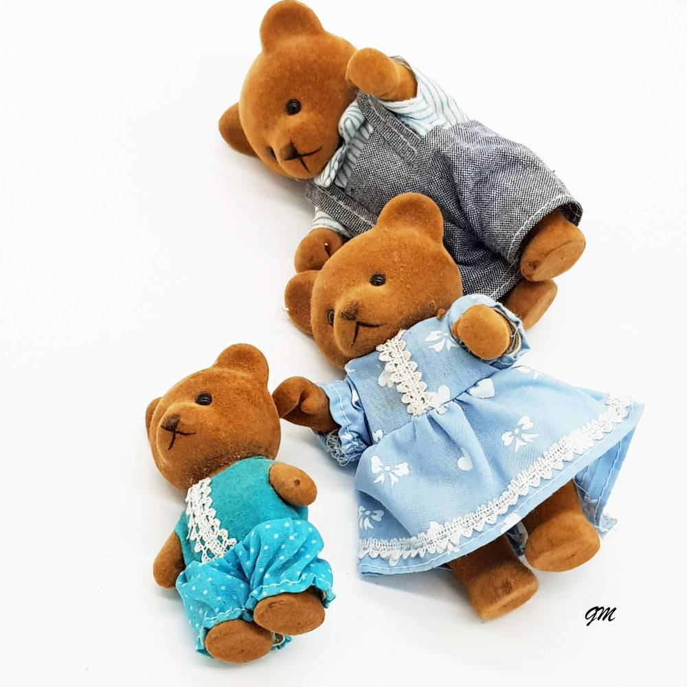 vintage kleine Bärenfamilie aus den 80er, kein Kinderspielzeug, Geschenk, Dekoration Bild 1