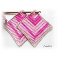 1 Paar gehäkelte Topflappen - Küchenhelfer,Potholder - Geschenk Hauseinweihung,Geburtstag,Weihnachten - pink,rosa Bild 1