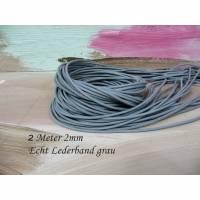 Lederband 2 Meter grau anthrazit 2mm Lederkordel rund echtes Rindsleder Bild 1