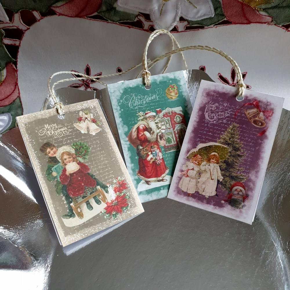 6 schöne Geschenkanhänger für Weihnachten, zweilagig, Set Schneegestöber Bild 1