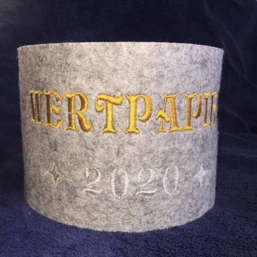 Klorollenumrandung Wollfilz bestickt WERTPAPIER 2020 Klopapiermanschette Toilettenpapiermanschette Klorolle