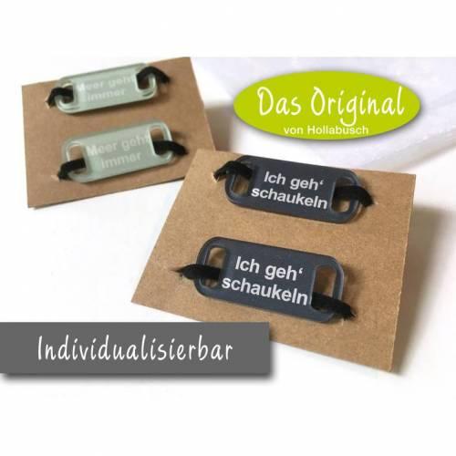 Schuh-Charms mit Spruch Statement, Acrylglas, Schnürsenkel-Tags, personalisierbar