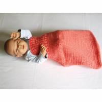 gestrickter Strampelsack Wolle Länge 50cm lachs rosa Pucksack Schlafsack Bild 1