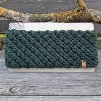 Stirnband handgestrickt im Sternchenmuster - Wolle/Alpaka - tannengrün Bild 1