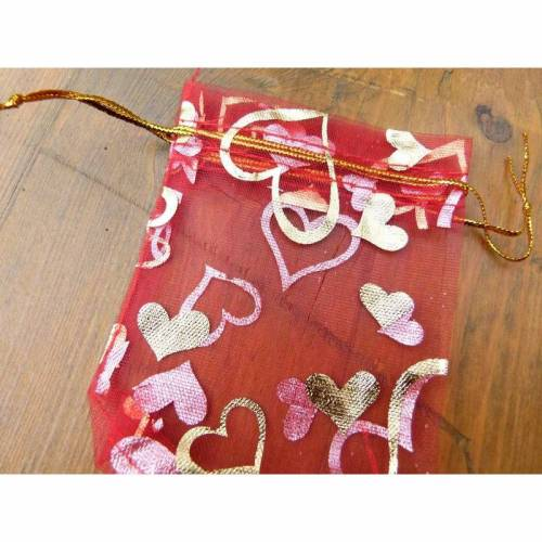 "10 rote Organzasäckchen ""golden Heart"" 7x9 cm"