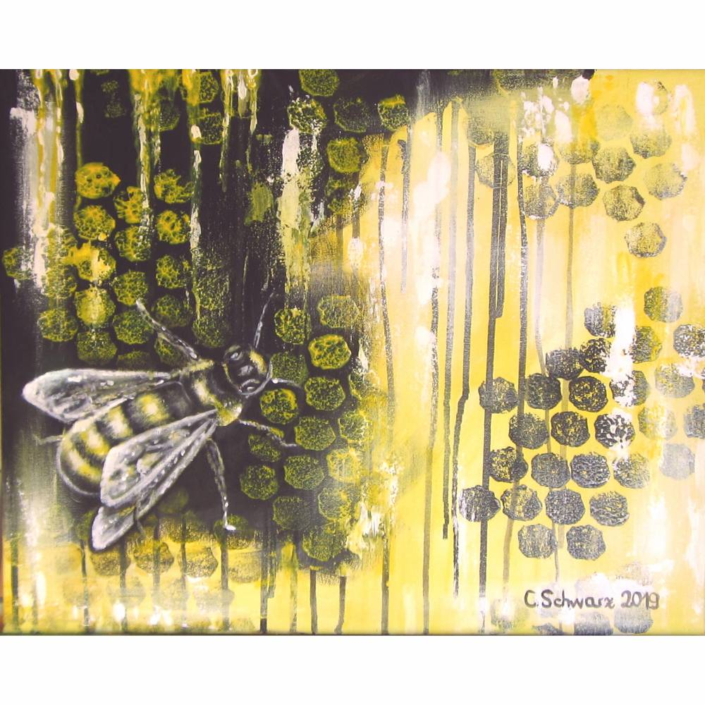 HONEY BEE - abstraktes Leinwandbild 50cmx40cm, moderne Kunst Künstlerin Christiane Schwarz Bild 1
