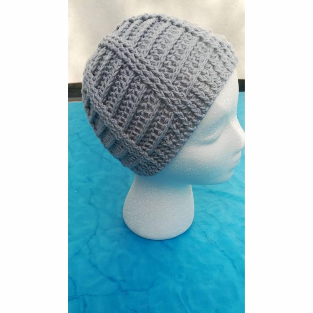 Mütze gehäkelt Handarbeit grau unisex ca. 50-56 cm superweich Basic Bild 1