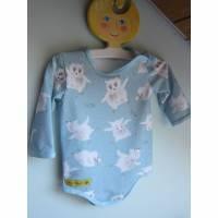 Langarm Baby Body Eulen in Freuden Taumel in hell blauer organischer Jersey Gr 62. Bild 1