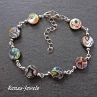 Perlmutt Armband Abalone Paua Muschel Perlmuttarmband Regenbogenfarben Bild 1