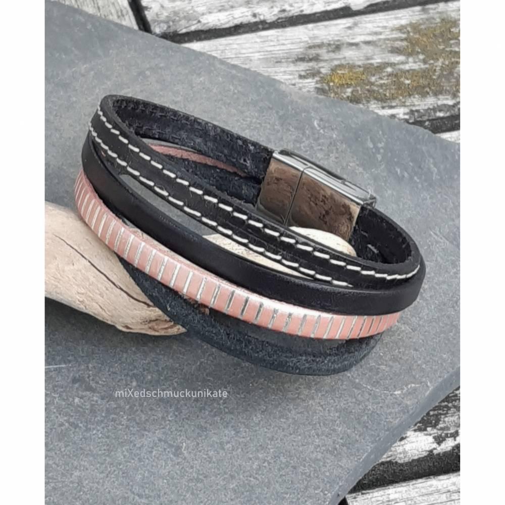 Leder-Armband Schwarz-Rose Bild 1