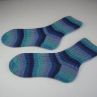 gestrickte Socken 44-45,mint,blue,dunkelblau,Herrensocken Wollsocken Strümpfe Gr 44-45 handgestrickt,Nr 670 Bild 1