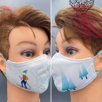 Mund&Nasenmaske / albstoffe / ShieldPro / Trevira-Bioactiv / Weihnachten / Skifahrer / Größe S / Kindermaske Bild 1