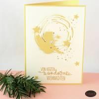 Weihnachtskarte mit Engel - weiß gold